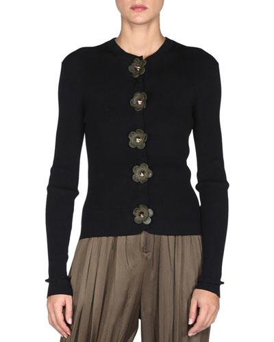 Long-Sleeve Flower-Detail Cardigan, Black