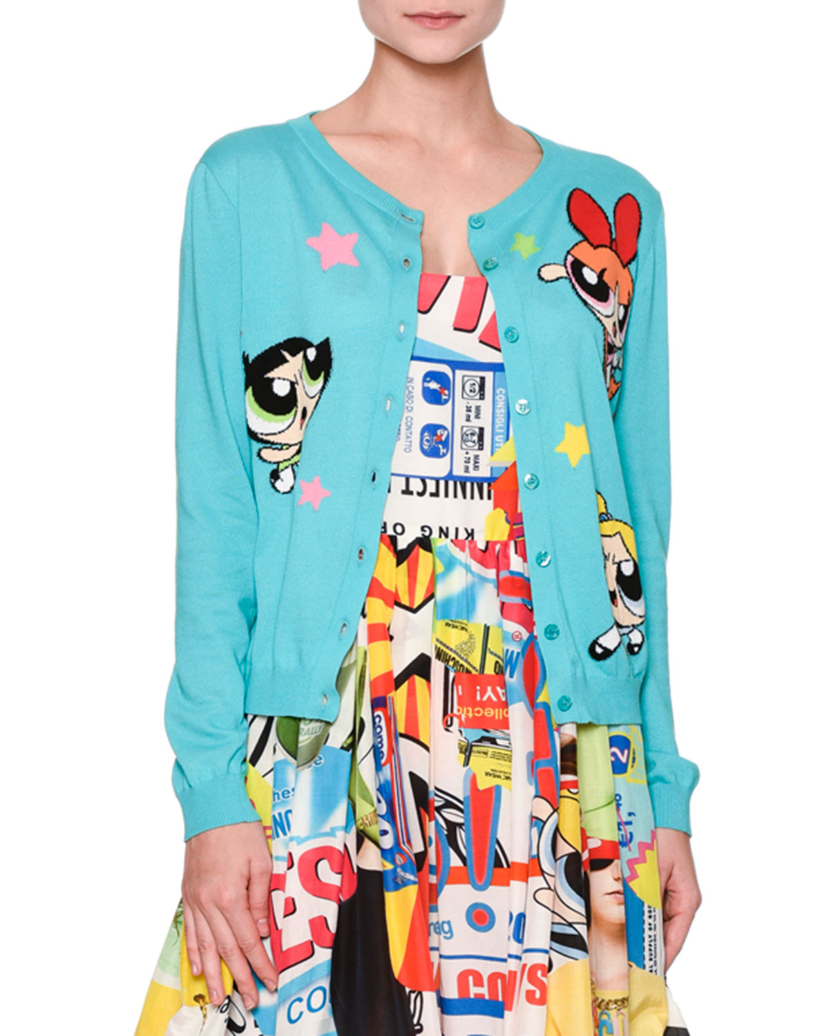 66f8e63f8f Moschino Powerpuff Girls Button-Front Cardigan & Tank Dress & Matching  Items | Neiman Marcus