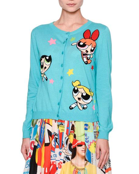 Moschino Powerpuff Girls Button-Front Cardigan, Light Blue
