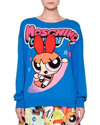 Powerpuff Girls Boyfriend Sweater, Blue