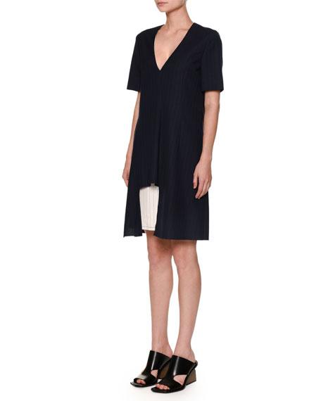 Marni Short-Sleeve Contrast-Underlay Dress, Eclipse