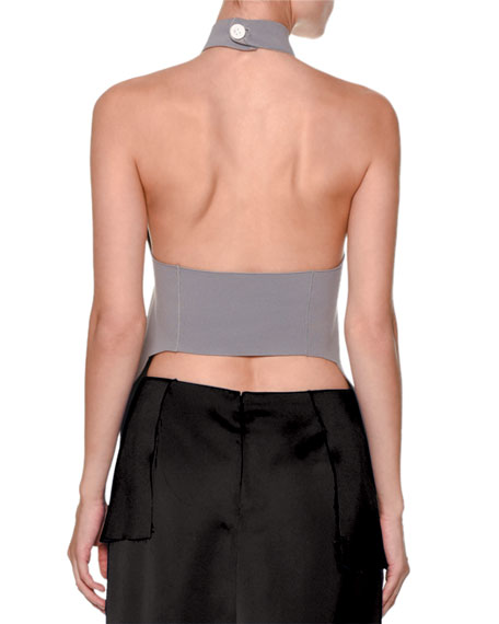 Sleeveless Turtleneck Open-Back Sweater, Gray