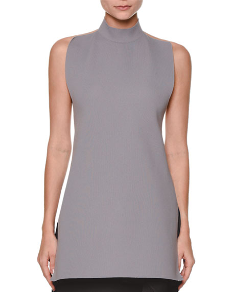 Marni Sleeveless Turtleneck Open-Back Sweater & Side-Ruffle