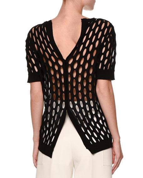 Butterfly-Back Short-Sleeve Fishnet Sweater, Black