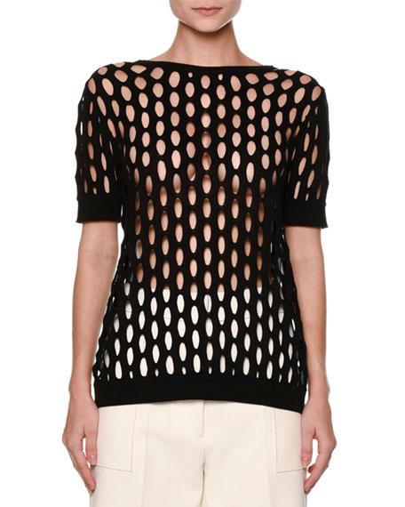 Marni Butterfly-Back Short-Sleeve Fishnet Sweater, Black