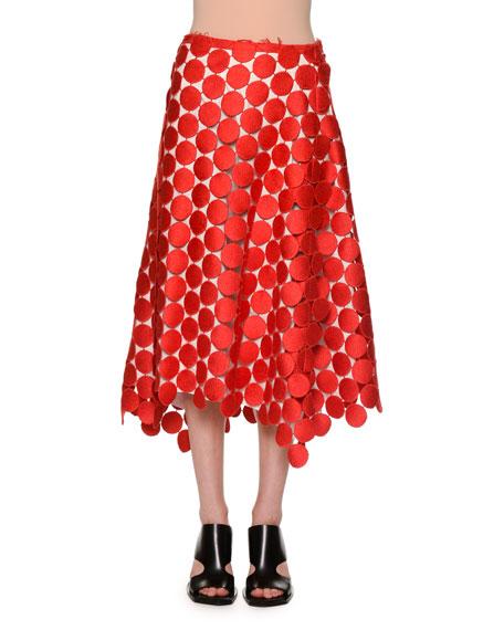 Macrame Dot A-Line Midi Skirt, Orange/Red