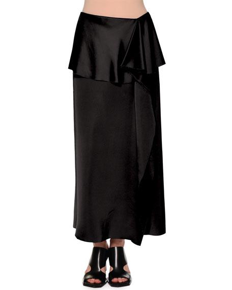 Marni Fold-Waist Side-Ruffle Maxi Skirt, Black