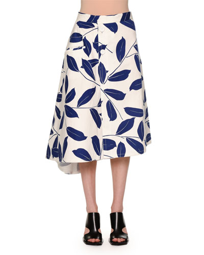 1717b8351640d9 Great choice Marni Button-Front Printed A-Line Skirt Electric Blue ...