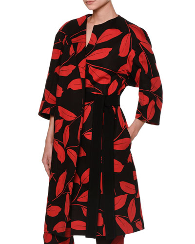 3/4-Sleeve Printed Duster Coat, Red/Black