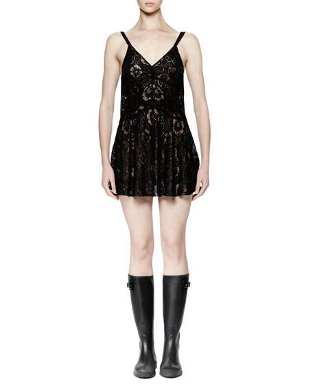 Saint Laurent Sleeveless Lace Mini Dress, Black