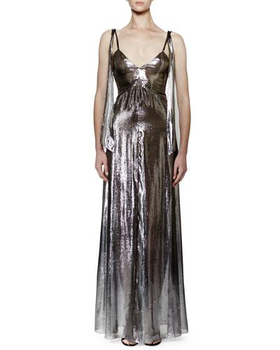 Sleeveless V-Neck Lamé Gown, Silver