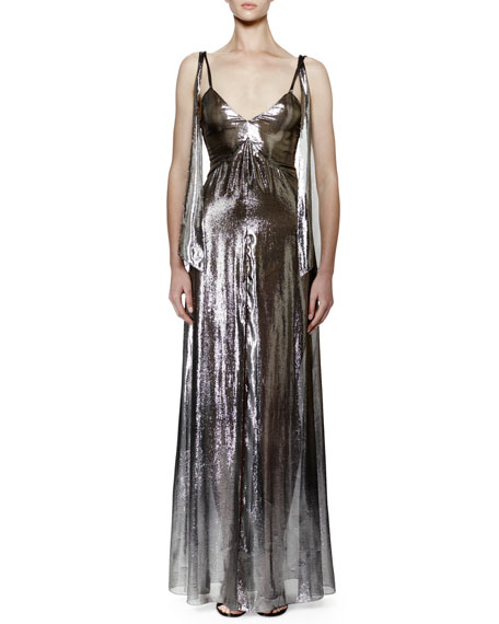 Saint Laurent Sleeveless V-Neck Lamé Gown, Silver