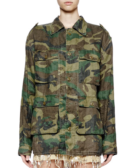 Button-Front Camo Safari Jacket, Khaki