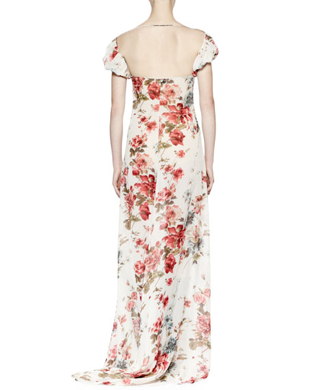 Saint Laurent Off-The-Shoulder Floral-Print Gown, Rose Grunge
