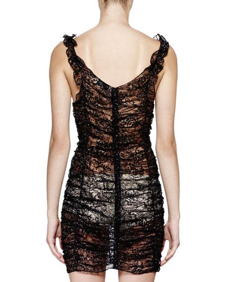Sleeveless Metallic-Lace Ruched Dress, Black