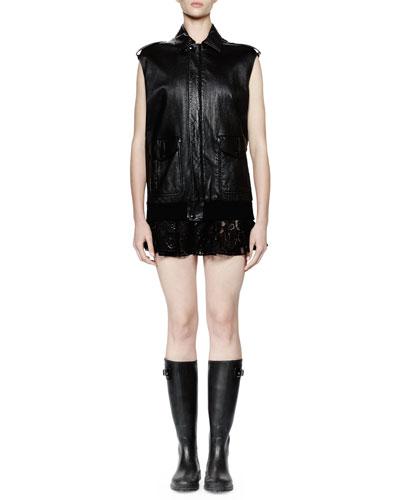 Leather Flight Jacket Vest, Noir