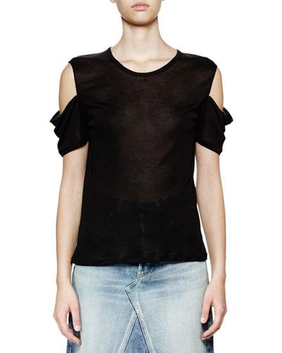 Cold-Shoulder Round-Neck Top, Noir