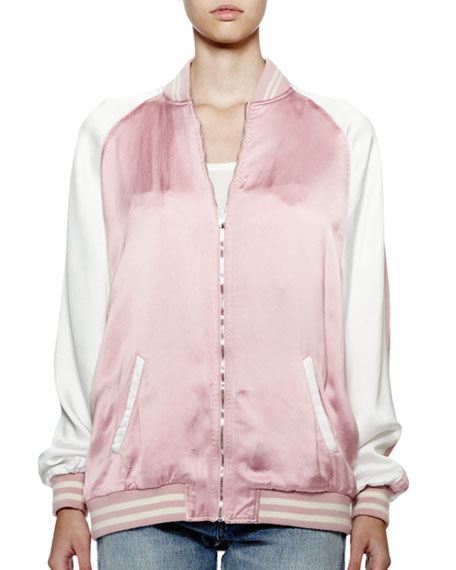 Teddy Two-Tone Bomber Jacket, Pink