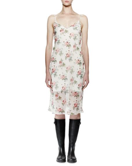 Saint Laurent Sleeveless Floral-Print Midi Slip Dress, Rose