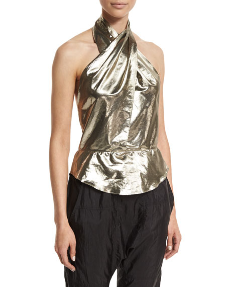 Isabel Marant Twisted Metallic Halter Blouse, Dore