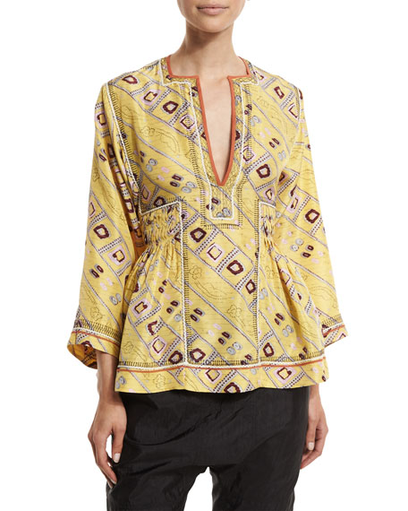 Isabel Marant 3/4-Sleeve Embroidered Tunic Blouse, Light Yellow