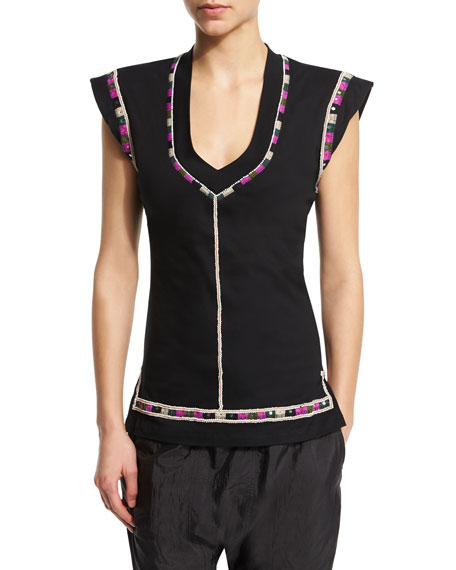 Cap-Sleeve U-Neck Embroidered Top, Black