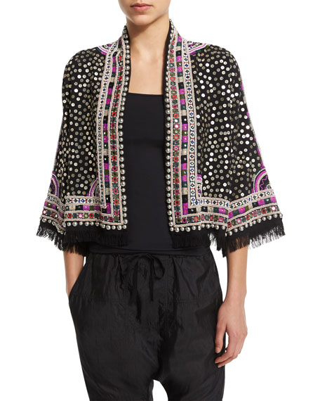 Fluted-Sleeve Embellished Jacket, Black