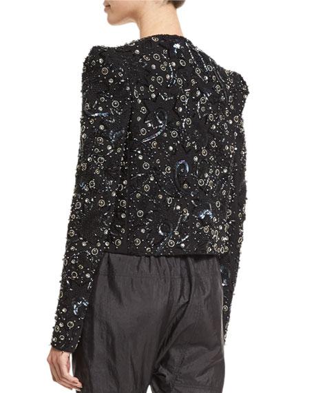 Strong-Shoulder Embellished Jacket, Black/Silver