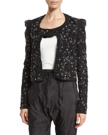 Isabel Marant Strong-Shoulder Embellished Jacket, Black/Silver