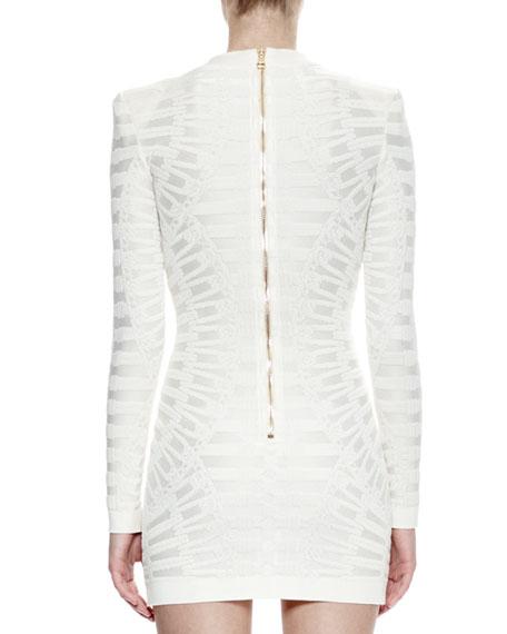 Long-Sleeve Lace-Up Sheath Dress, White