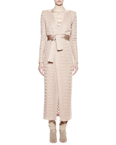 Long Duster Coat W/Self Belt, Sable