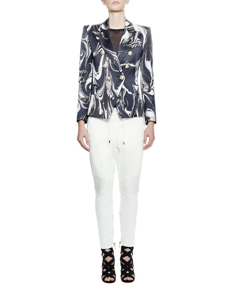 Balmain Double-Breasted Swirl-Print Jacket, Black