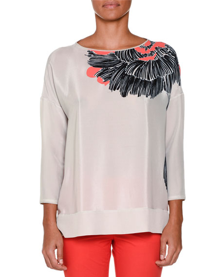 Piazza Sempione 3/4-Sleeve Desert Rose-Print Blouse, Gray
