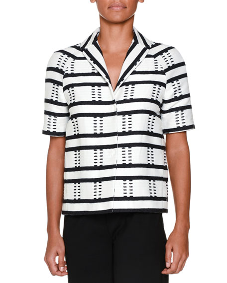 Piazza Sempione Short-Sleeve Striped Jacket, Black/White