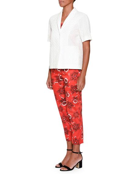 Slim-Leg Floral-Print Cropped Pants, Red