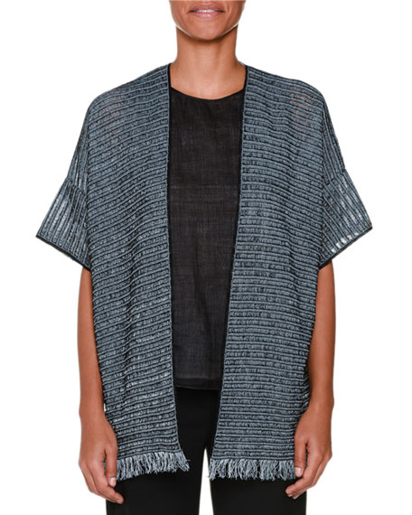 Piazza Sempione Short-Sleeve Cardigan W/Fringe, Black