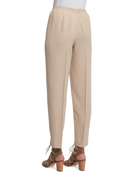 Narrow-Leg Ankle Pants, Tan