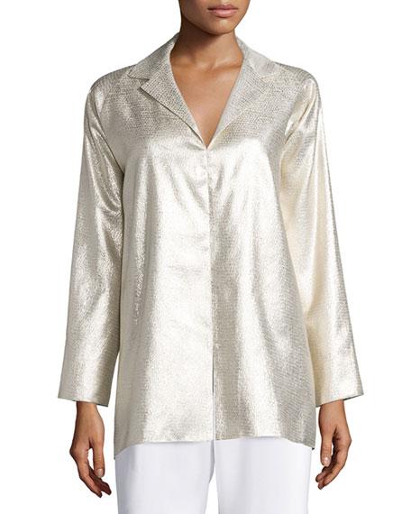 Shamask Long-Sleeve Metallic Tunic, Gold
