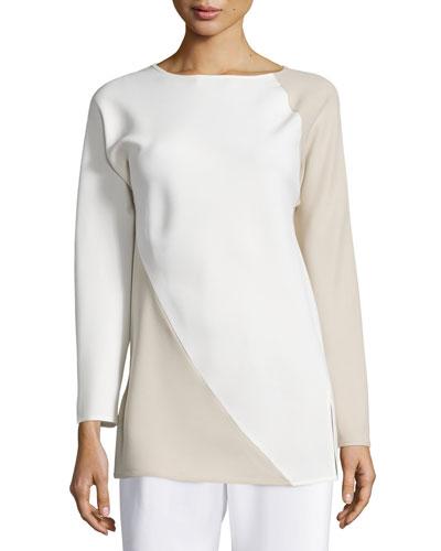 Spiral Colorblock Long-Sleeve Top, Ivory/Tan