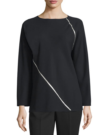 Shamask Long-Sleeve Metallic-Spiral Blouse, Black