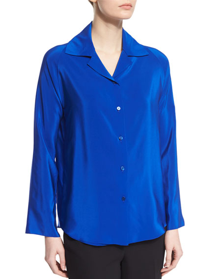 Shamask Button-Front Long-Sleeve Blouse, Blue