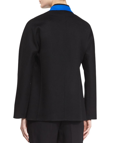Contrast-Trim Long-Sleeve Jacket, Black/Blue