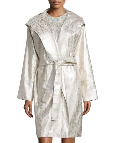 Hooded Metallic Raincoat, Gold