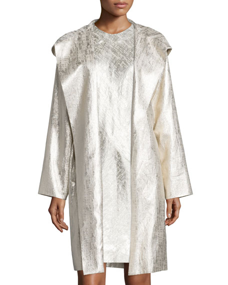 Shamask Hooded Metallic Raincoat, Gold