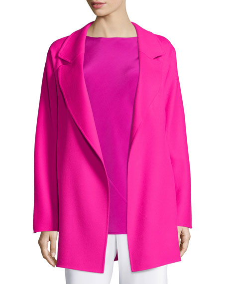 Shamask Notched-Lapel Open-Front Coat, Fuchsia