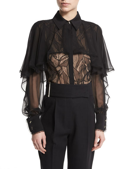 Lace & Ruffle Sheer Blouse, Black