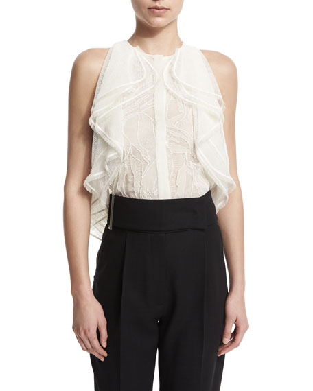 Sleeveless Ruffle-Front Lace Blouse, Chalk