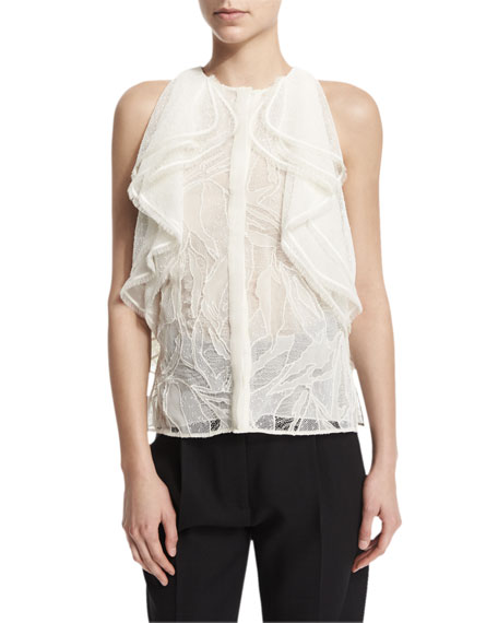 Jason Wu Sleeveless Ruffle-Front Lace Blouse, Chalk