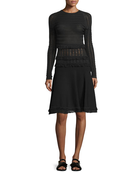 Jason Wu Long-Sleeve Grid Dress W/Fringe Trim, Black