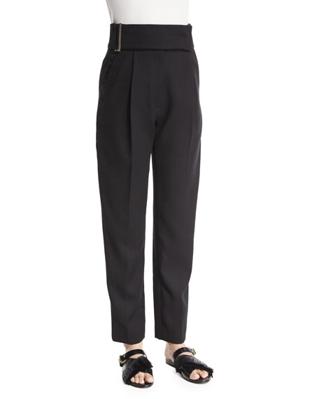 Jason Wu High-Waist Pleated-Front Pants, Black